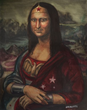 Here is the first of 2 Mona Lisa parodies. Not sure it needs much of an explanation. It was done for a patron as a centerpiece to his collection of my artwork. The next Mona is far less serious, look for it soon!....