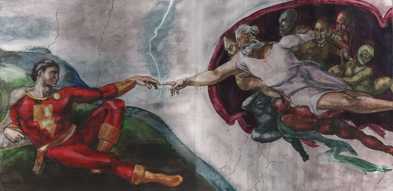The Wizard Shazam, holding back the Seven Deadly Sins, giving Captain Marvel his powers with a bolt of lightning.