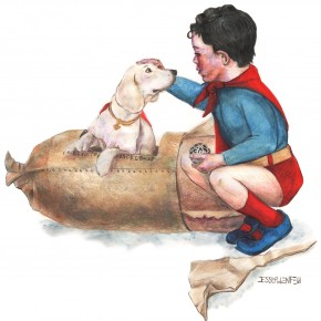 "The Kryptonian writing reads ""Krypto. Dog For Sale"" Superbaby holds a kryptonian powersourse from the movie Supergirl"