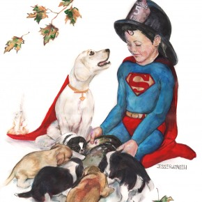 The client's dog appears in this piece, the little chin below Krypto. Superboy wears a Smallville Firehelmet, and Krypto's cape is still on fire.