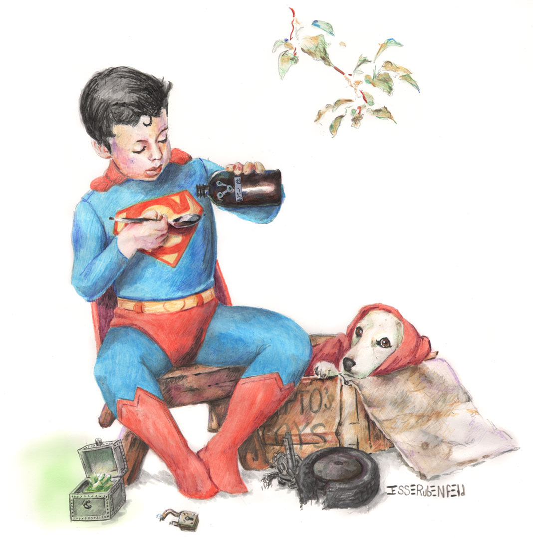 "Krypto was playing with what he thought was a toy from his toybox, but it turned out to be a lead box of Kryptonite. Superboy is giving Krypto a Brainiac bottled ""cure"""