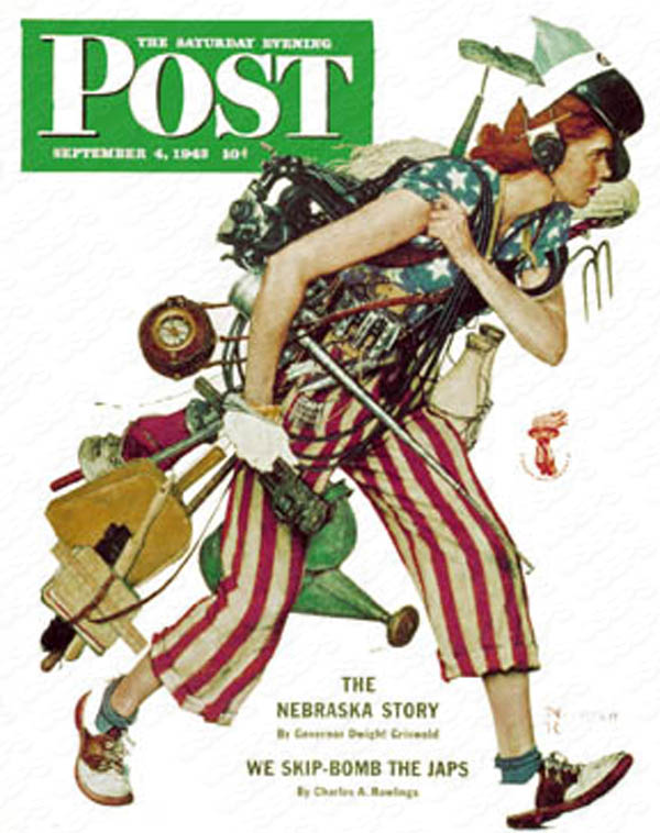 Based on Norman Rockwell's Cover for Saturday Evening Post from September 4th, 1943. PLEASE NOTE: I am in no way affiliated with Saturday Evening Post or it's publisher Curtis Publishing.